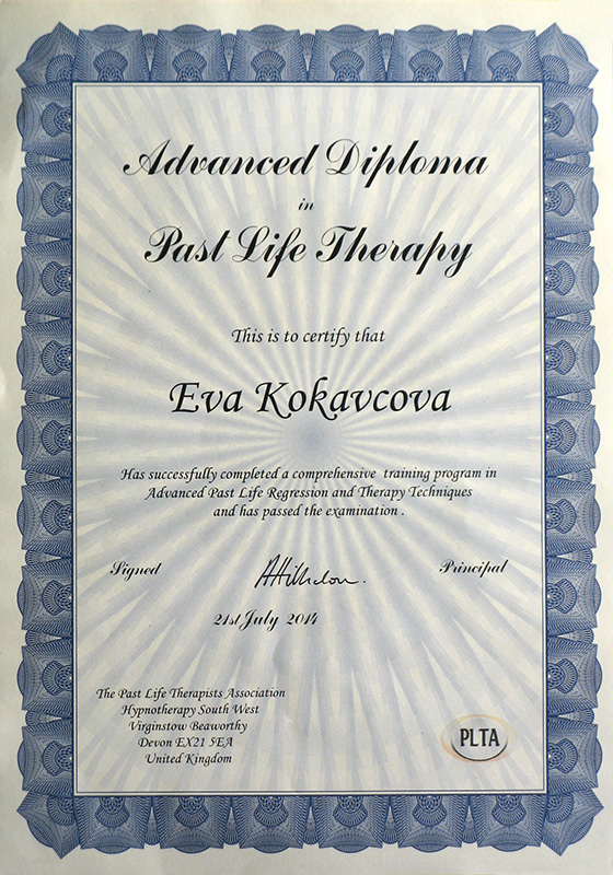Certificate PLTA Advanced Past Life Therapy